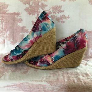 TOMS Floral Espadrille Wedges